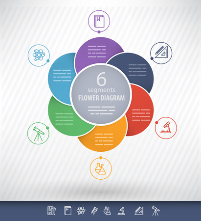 6 sided circular presentation template with educational icons and space for text
