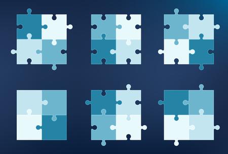 cuatro elementos: Colección de 6 pedazos del rompecabezas iconos, cada uno con cuatro elementos