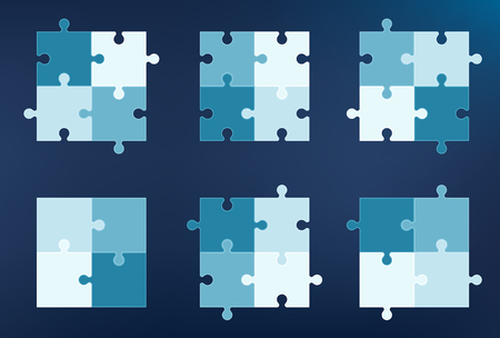 six objects: Collection of 6 puzzle pieces icons, each with four elements