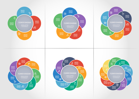 5 7: Collection of colorful diagrams with 4, 5, 6, 7, 8 and 9 sides for brochures, banners, web designs