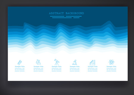 insert: Abstract background with blue waves and a set of simple icons