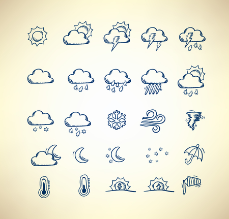 forecast: Collection of hand drawn weather forecast icons