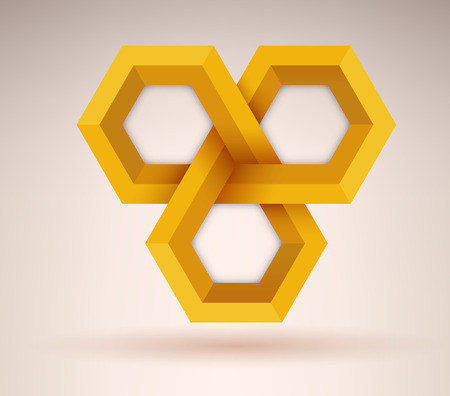 mobius symbol: Abstract golden geometrical cubic shape with three options