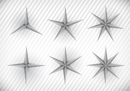 top 7: Collection of three, four, five, six, seven and eight pointed stars