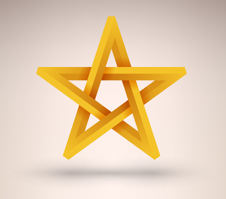 pentacle: Five pointed three dimensional golden star illustration