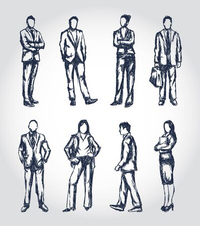 line drawing: Business people illustrations in a sketchy pen drawn style Illustration