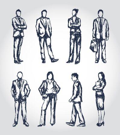 fila de personas: Hombres de negocios de las ilustraciones en un estilo de pluma esquemático dibujado