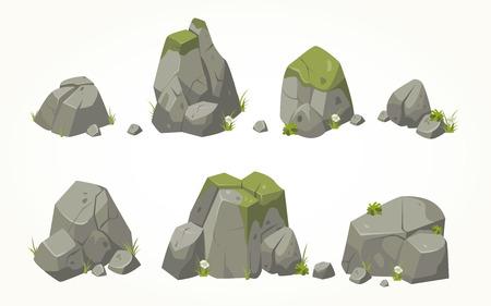 Het verzamelen van stenen illustraties getekend in dezelfde stijl Stock Illustratie
