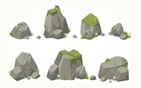 Collection of stone illustrations drawn in the same style