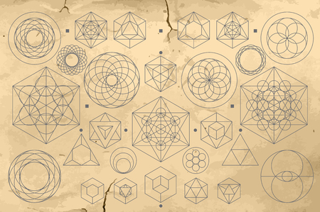 illuminati: Collection of abstract geometric signs drawn to an old vintage paper texture