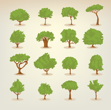 application recycle: Collection of different kinds of deciduous trees illustrations in flat, simple style