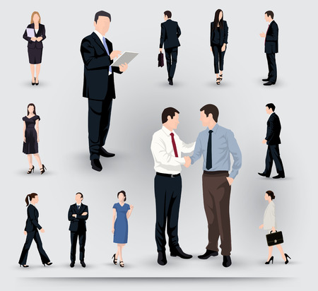 woman standing back: Collection of business people illustrations in different poses and interactions