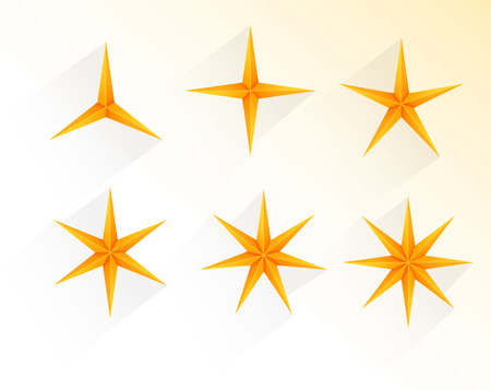 Collection of golden stars with 3 to 8 points