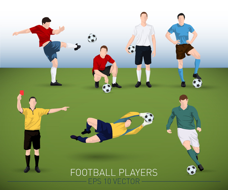 judge players: collection of vector football player silhouettes running, standing, holding ball, goalkeeper and judge