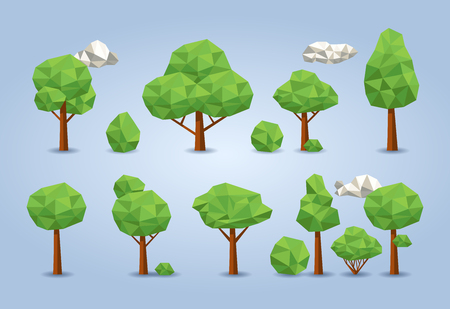 Geometric low poly tree set. deciduous trees, bushes and clouds Illustration