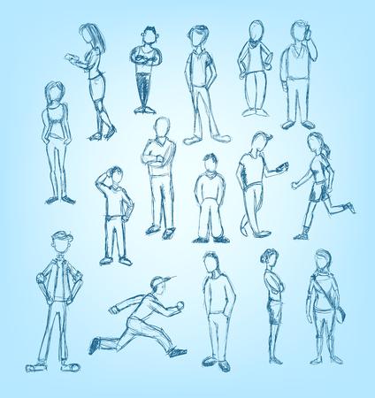 lijntekening: Doodled personages in het lopen, staan, wachten en praten over de telefoon posities Stock Illustratie
