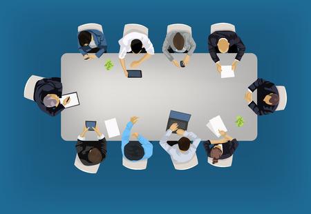 Réunion d'affaires concept illustration dans une vue aérienne avec des gens assis autour d'une table de conférence Vecteurs