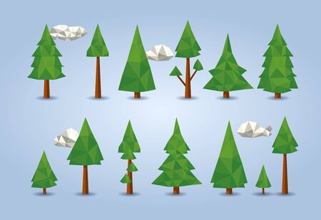 low poly conifer trees set for poster designs, banners, flyers, website designs and christmas backgrounds Illustration