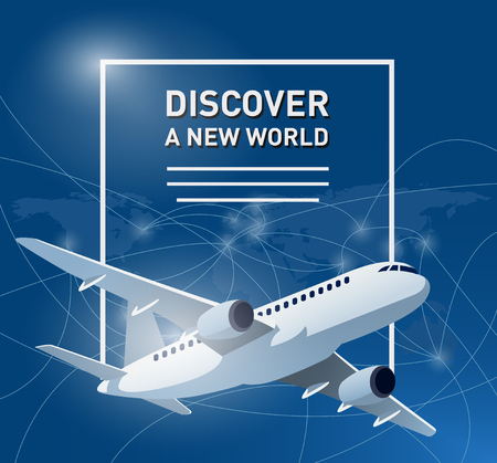 aircraft: Travelling banner with an aircraft and world map in the background with travel destinations