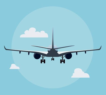 Flat airplane illustration, view of a plane landing from the back