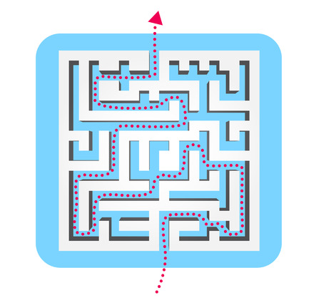 Labyrinth illustration with a dotted line providing the solution Illustration
