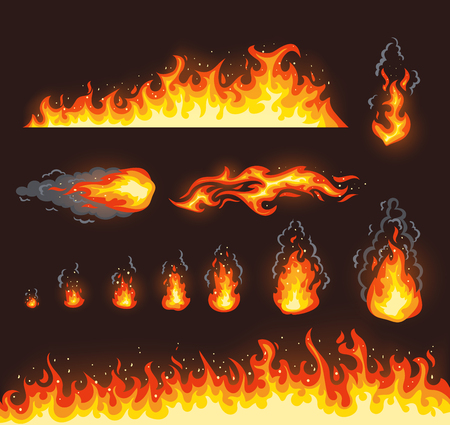 Collection of fire illustrations with different size Illustration