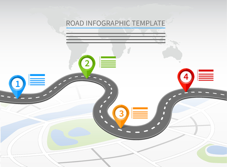 Strada modello infografica con una strada tutta curve e quattro puntatori Archivio Fotografico - 59195385