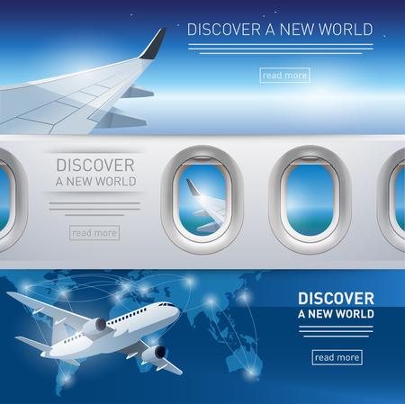 飛行機、翼、舷窓のイラストで観光テーマ バナー集