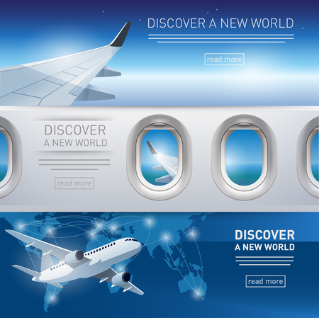 ad: Collection of tourism themed banners with airplane, wing and porthole illustrations