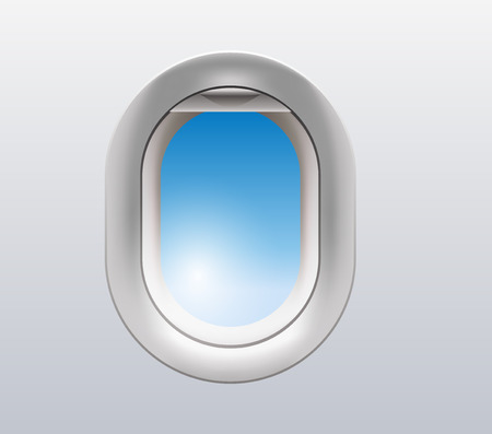 illustration of a window from inside the airplane