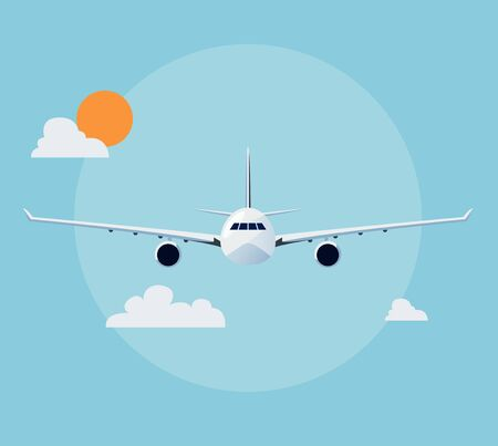 front view: Flat airplane illustration, view of a plane front side