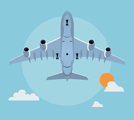 land transportation: Flat airplane illustration, view of a plane taking off from below
