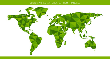 Polygonal world map using different hues of green