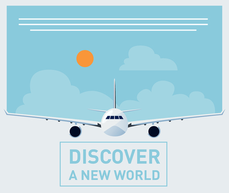 aircraft: Tourism illustration template for brochures, banners, poster designs with a plane front Illustration