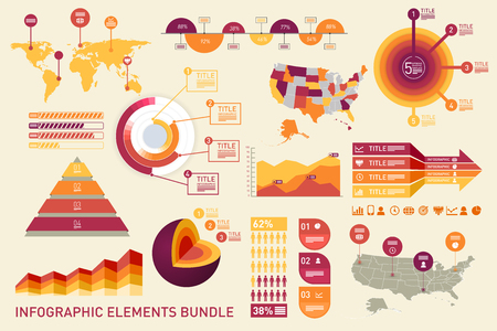 Charts, diagrams, graphs, elements for infographics using the same style