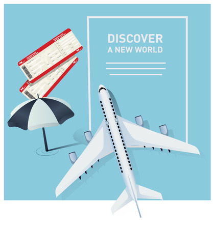 Travel banner template with a plane illustration Illustration
