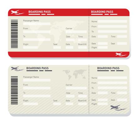 2 つの異なる飛行機チケット テンプレートのイラスト