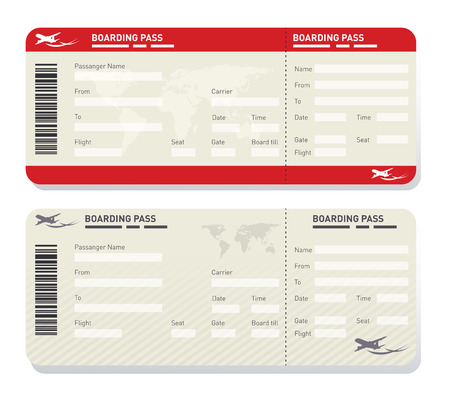 Illustration of two different airplane ticket template Imagens - 65573855