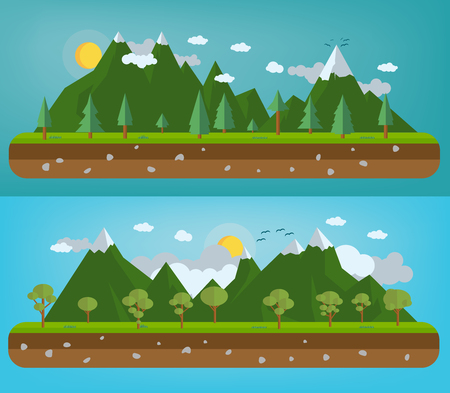 Flat natural illustration with mountains and forests Illustration