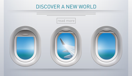 Illustration of a plane portholes usable for banners, brochures in tourism theme Illustration