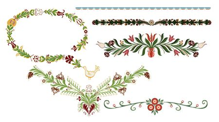 Traditional hand drawn decorative elements with floral symbols