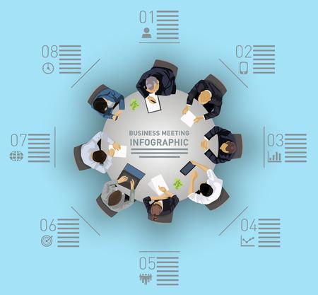 gente sentada: Concepto de negocio de reunión con gente sentada alrededor de una mesa redonda