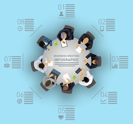 Business meeting concept with people sitting around a round table