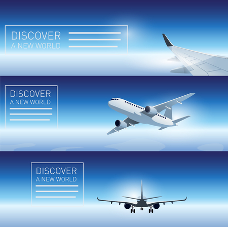 Three transportation banner templates with flying airplanes
