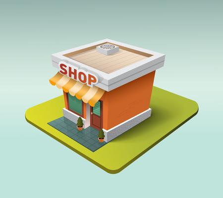 Cute three dimensional detailed cartoon store icon