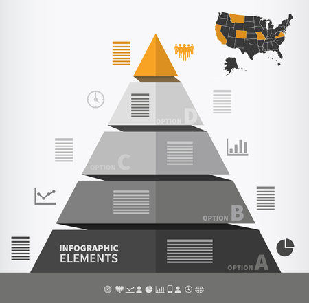 Pyramidal infographic element with four steps and place for text
