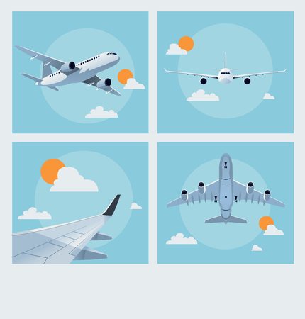 charter: Set of vintage flying poster illustration of planes in the air