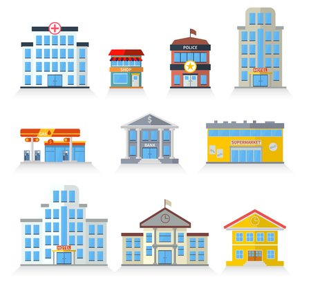 facade: Flat building fronts of hospital, police, store, market, school, university, hotel and bank