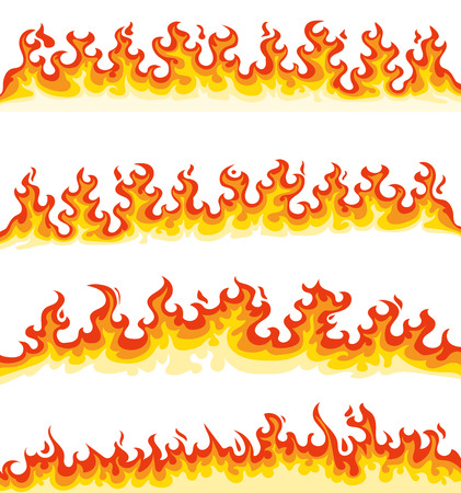 Collection of four horizontal long cartoon flames