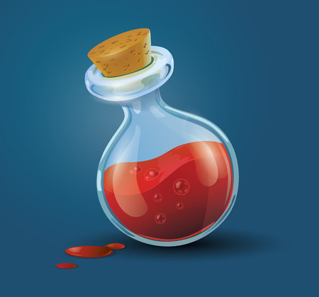 wizardry: Vector illustration of a bottle filled with red potion